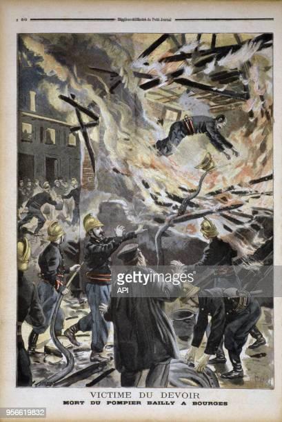 Illustration du Petit Journal représentant la mort du pompier Bailly mort victime du devoir dans un incendie à Bourges France