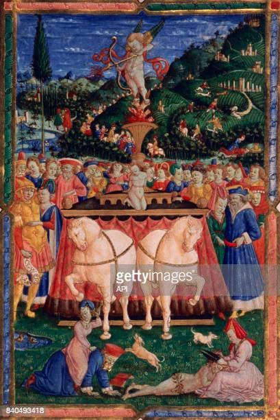 Illustration du poème 'Triomphe de l'Amour' de Pétrarque réalisée en 1457