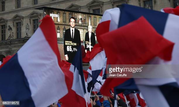 Illustration during the celebration of newly French President elected Emmanuel Macron at Le Louvre plaza on May 7 2017 in Paris France