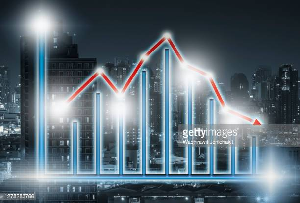 illustration, economic recession charts from various problems around the world. skyscrapper in the city center dark tone background image. - graphic accident photos stock pictures, royalty-free photos & images