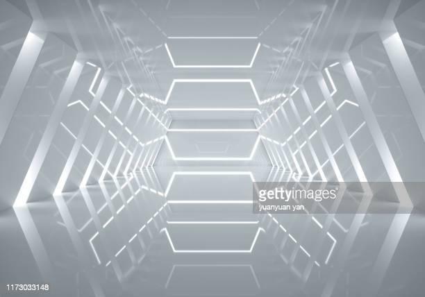 3d illustration empty futuristic space - 宇宙の乗りもの ストックフォトと画像