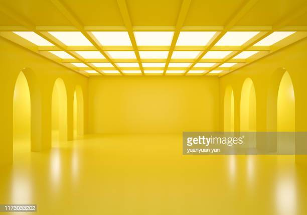 3d illustration empty show room - gelb stock-fotos und bilder