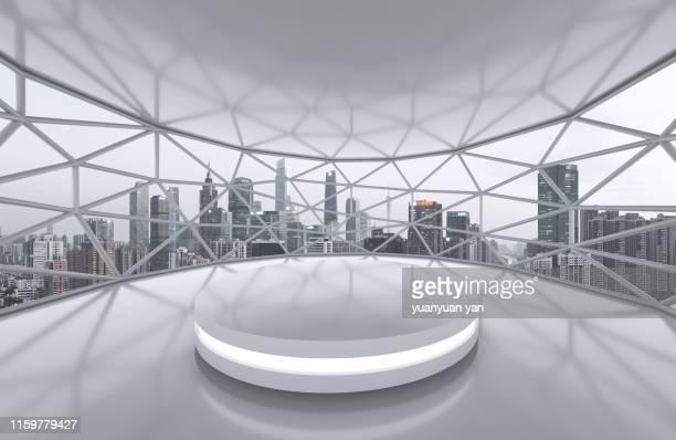 3d illustration empty space background with city skyline - scène urbaine photos et images de collection