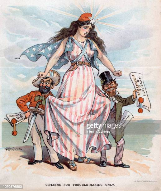 Illustration entitled 'Citizens for TroubleMaking Only' depicts the figure of Columbia as she stands between two figures labeled 'Cuban Filibuster'...