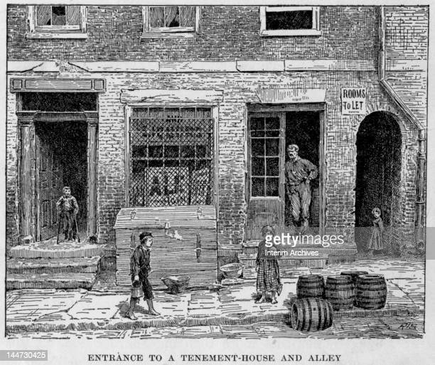 Illustration entitled 'Entrance to a Tenement-House and Alley' shows a man as he leans in a doorway, and several children, one on crutches, outside a...
