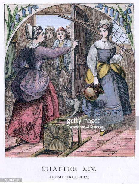 Illustration entitled 'Fresh Troubles' depicts one woman accusing another as people watch from an open doorway, 1873. Written by Christoph von Schmid...