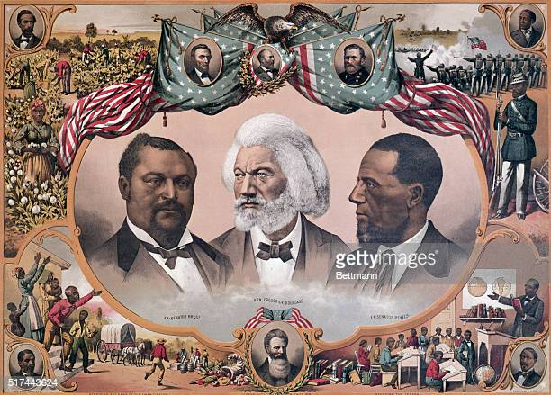 Illustration entitled HEROES OF THE COLORED RACE with vignetted portraits of Fredrick Douglass and former senators Bruce and Revels surrounded by...