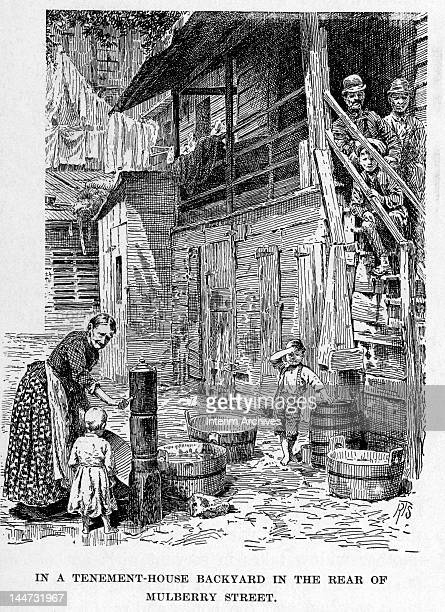 Illustration entitled 'In a Tenement-House Backyard in the Rear of Mulberry Street' shows an elderly woman as she pumps water into wooden laundry...