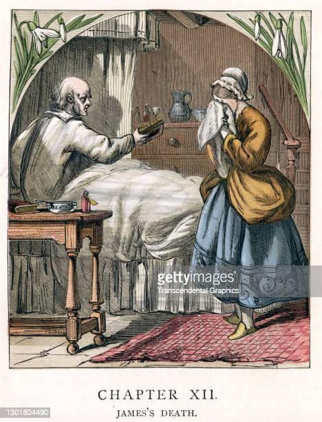 Illustration entitled 'James's Death' depicts a woman her face hidden in a handkerchief beside the bed of a pale, elderly man, 1873. Written by...