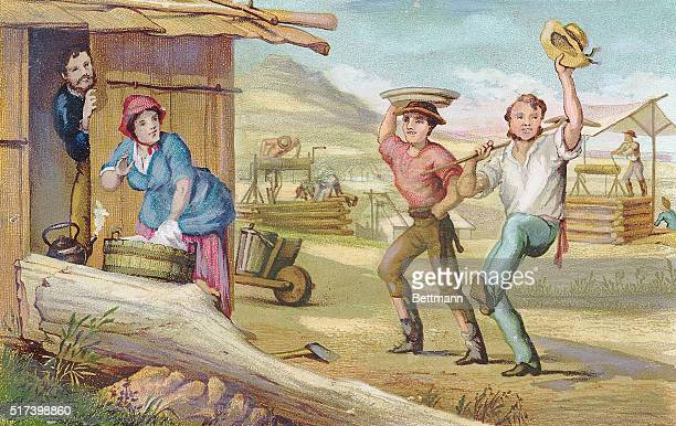 Illustration entitled 'Lucky Diggers' depicting miners returning from the field during the California Gold Rush Undated lithograph