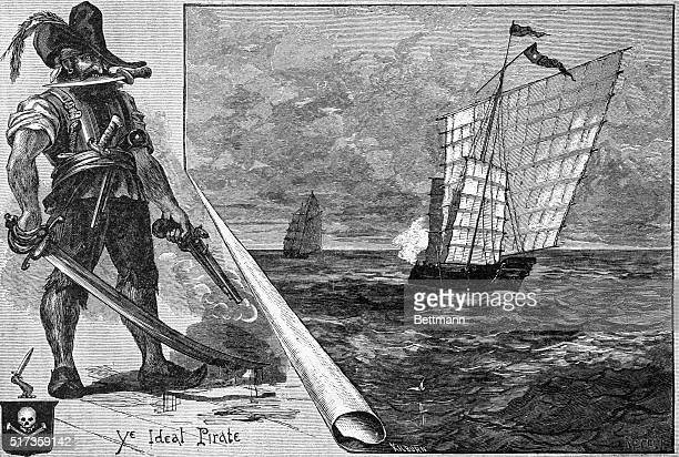 Illustration entitled 'ONE TYPE OF PIRATE' depicting 'Ye Ideal Pirate' holding the blade of a dagger in his mouth The larger portion of the image...