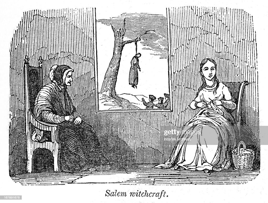 Illustration, entitled 'Salem Witchcraft,' shows an elderly woman and a young woman as they knit in a room while, through their window, a group of people watch the dangling corpse of a woman executed by hanging, Salem, Massachusetts, 1692. Published in 'A Pictorial History of the United States' (1845).