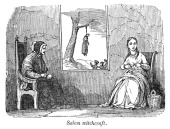 Illustration entitled salem witchcraft shows an elderly woman and a picture id167891676?s=170x170