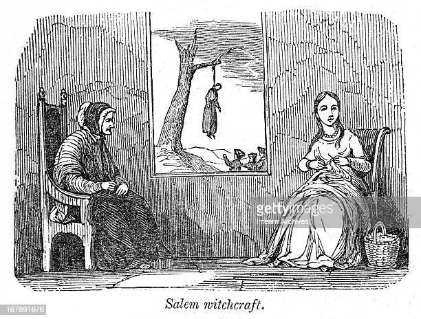 Illustration entitled 'Salem Witchcraft' shows an elderly woman and a young woman as they knit in a room while through their window a group of people...