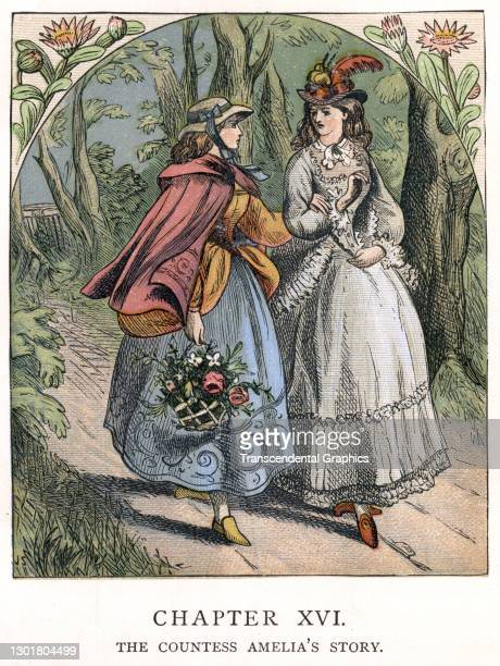 Illustration entitled 'The Countess Amelia's Story' depicts two well-dressed young woman as they walk in the forest, 1873. Written by Christoph von...