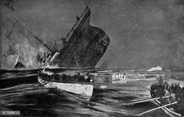 Illustration entitled 'THE DOOMED TITANIC' depicting the moment of the huge ship's final plunge on April 14th 1912 Boatloads of survivors leave the...