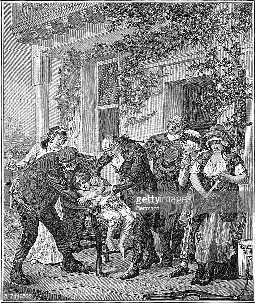 Illustration entitled The First Vaccination depicting Dr Edward Jenner's vaccination of James Phipps against smallpox in 1796 Undated engraving