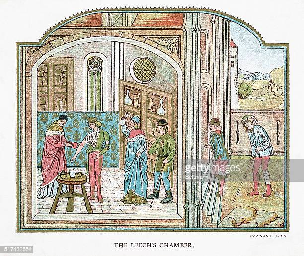 Illustration entitled 'The Leech's Chamber' The illustration depicts sick people going to the doctor who extracts contaminated blood from them by...
