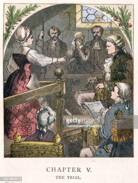 Illustration entitled 'The Trial' depicts a courtroom proceeding where a woman in the witness box points at another, the latter's face hidden in a...