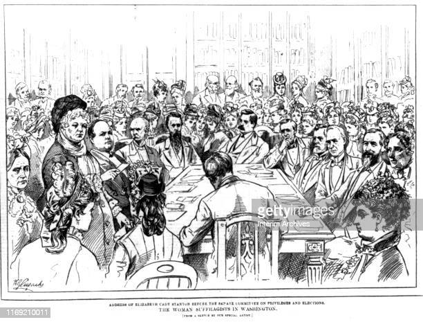 Illustration entitled 'The Woman Suffragists in Washington' depicts Elizabeth Cady Stanton as she addresses the US Senate Committee on Privileges and...