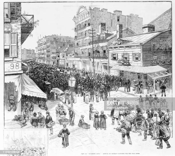 Illustration entitled ' View of Mulberry Bend Arrival of Contract Laborers For The Coal Mines' depicts a large crowd of men as they walk on Mulberry...