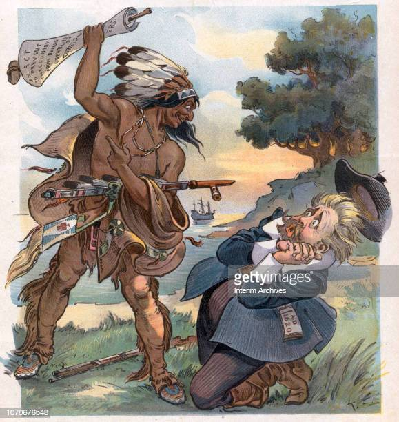 Illustration entitled 'Where Would We Be' depicts a Native American figure as he raises a scrolled document above the head of a covering Henry Cabot...