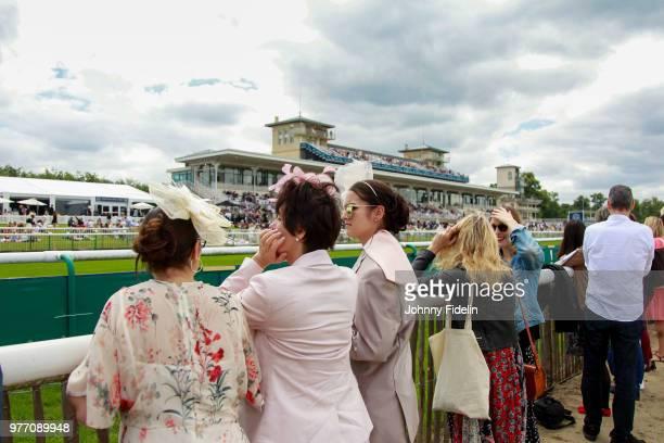 Illustration Extravagant Hats racegoer during the Grand Prix de Diane 2018 at Hippodrome de Chantilly on June 17 2018 in Chantilly France