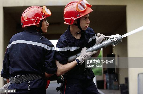 Illustration firefighters school at L'IsleAdam barrack in France on June 10 1999