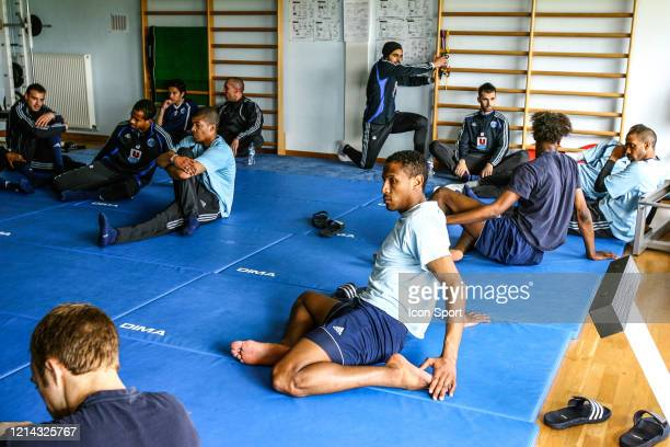 Illustration Fitness Class Loic NESTOR Kevin ANIN Jamel AIT BEN IDIR Damien TIXIER Amadou ALASSANE Hassan ALLA of Le Havre during the during the...