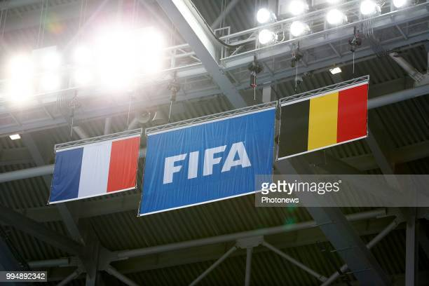 illustration flags during a training session of the National Soccer Team of France prior to the FIFA 2018 World Cup Russia SemiFinal match between...