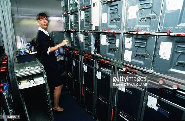 Illustration Flight attendant in Boeing 747 400 of Air France In France In May 2000 Stewardess