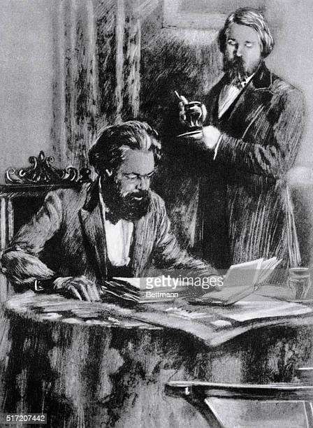 Illustration fo Karl Marx and Friedrich Engels, German socialist philosophers and co-authors of the Communist Manifesto. Undated.
