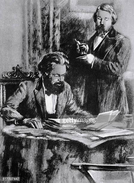 Illustration fo Karl Marx and Friedrich Engels German socialist philosophers and coauthors of the Communist Manifesto Undated