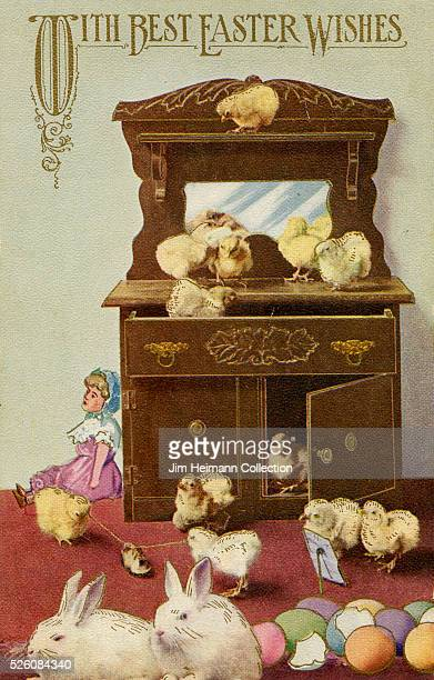 Illustration for 1908 Easter postcard featuring chicks rabbits and colored eggs surrounding dresser indoors