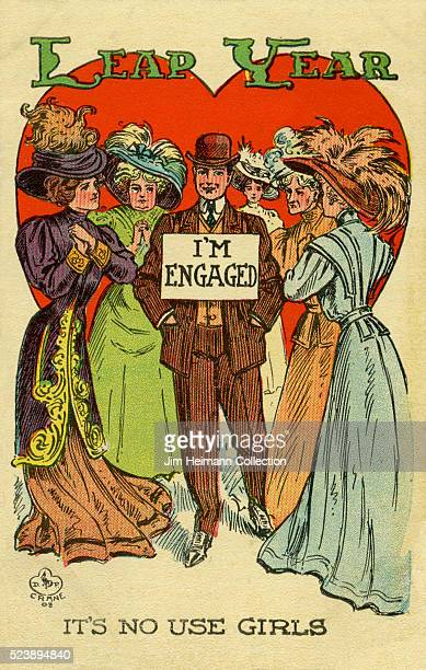 Illustration for 1908 Leap Year post card featuring man wearing sign to ward off proposals as he is surrounded by women