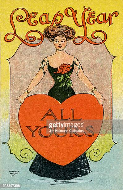 Illustration for 1908 Leap Year postcard featuring elegantly dressed woman holding heart.