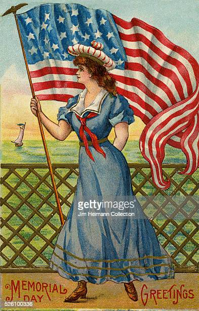 Illustration for 1908 Memorial Day postcard featuring young woman holding American flag