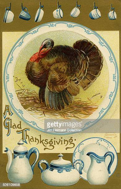 Illustration for 1910 Thanksgiving postcard featuring blue and white china with turkey