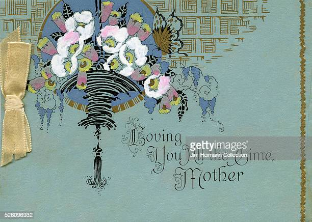 Illustration for 1910s Mother's Day card featuring chandelier and flowers