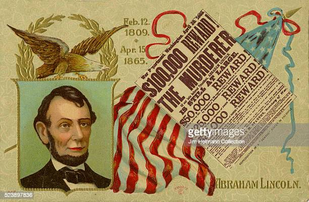 Illustration for 1911 postcard for Lincoln's Birthday featuring newspaper front page