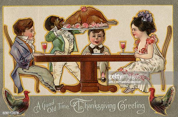 Illustration for 1911 Thanksgiving postcard featuring family being served turkey dinner by butler