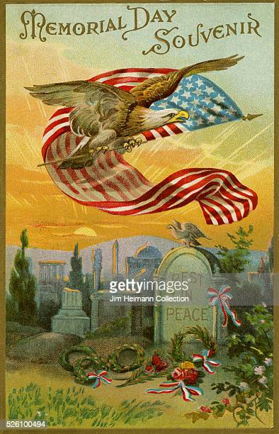 Illustration for 1915 Memorial Day postcard featuring eagle with American flag flying over cemetery