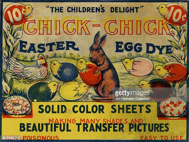 Illustration for 1920s Easter Egg Dye package label featuring rabbit and baby chicks hatching from colored eggs