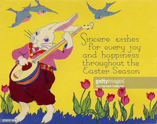 Illustration for 1920s Easter greeting card featuring rabbit playing guitar