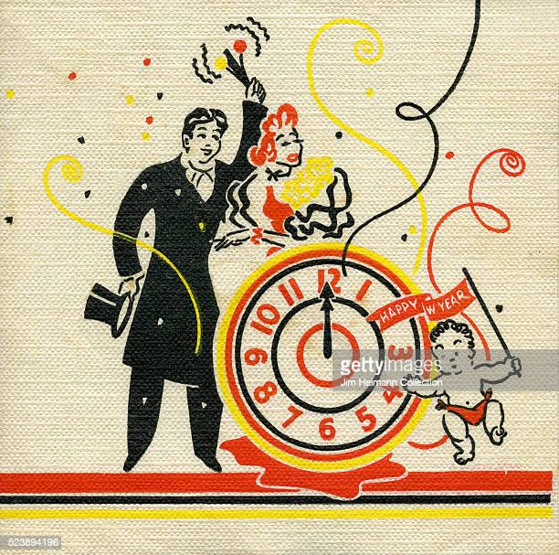 Illustration for 1937 New Year napkin featuring man and woman celebrating at midnight with Baby New Year