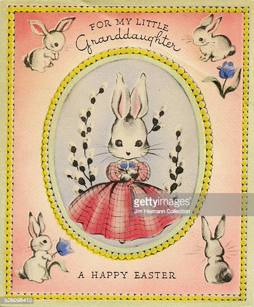 Illustration for 1940s Easter postcard for granddaughter featuring white rabbits and pink background