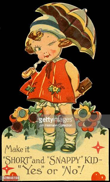 Illustration for a diecut 1930s Valentine's Day card featuring winking young girl holding a parasol