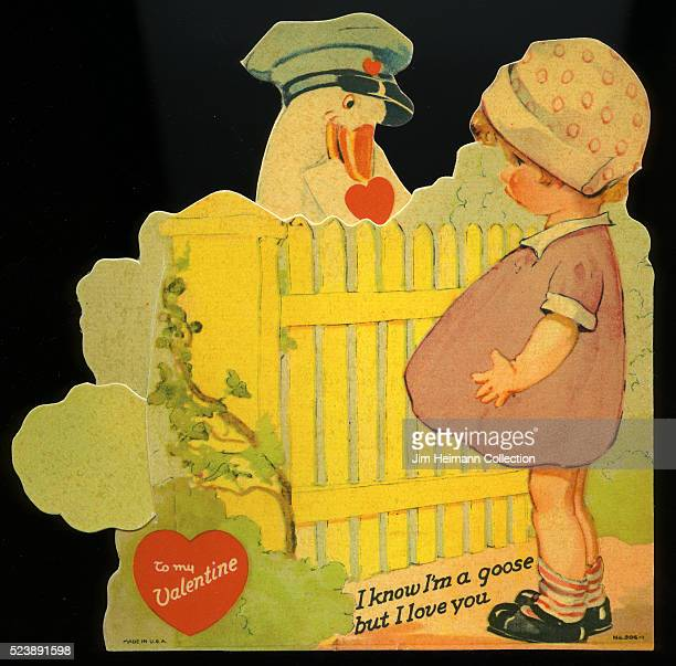Illustration for a diecut Valentine's Day card featuring a goose with a delivery cap on handing a letter to a young girl with its mouth