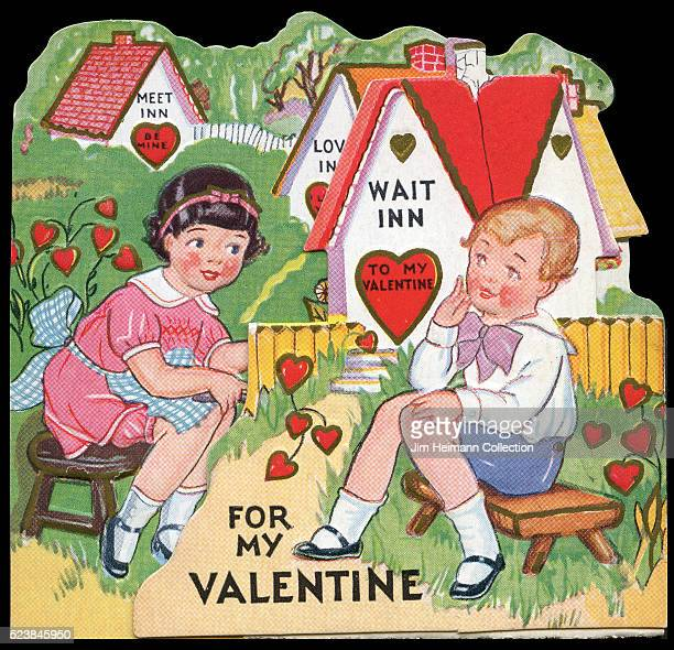 Illustration for a diecut Valentine's Day card featuring boy and girl sitting on stools talking