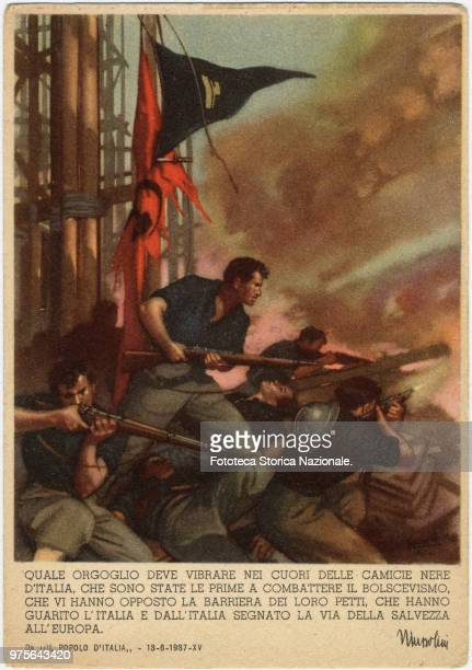 Illustration for a phrase by Benito Mussolini from 'Il popolo d'Italia' 'What proudness have to quiver into the hearts of the black shirts of Italy...